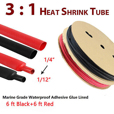 Dia 50mm 2 Dual Wall Heat Shrink Tubing 3:1 Ratio Heat Activated Adhesive Glue Lined Marine Shrink Tube Wire Sleeving Wrap Protector Black 5Ft