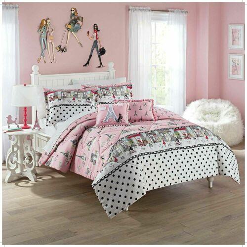 WAVERLY Paris FULL  3 piece comforter set  Eiffel Tower Pink White Girls Dots