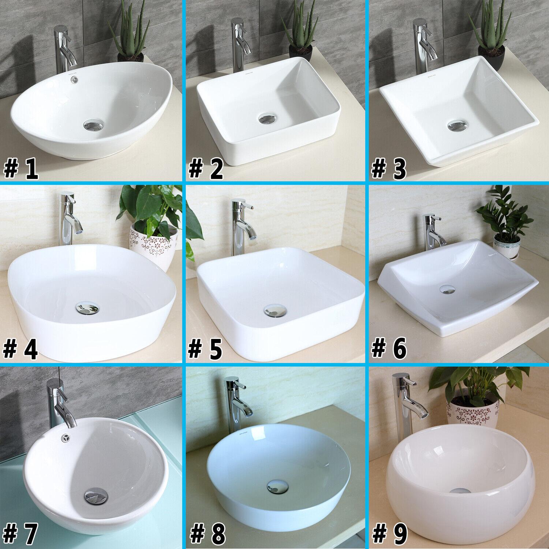 Bathroom Porcelain Ceramic Vessel Sink Vanity Bowl Art Basin Faucet Popup Drain