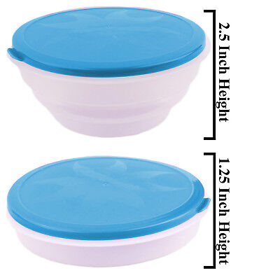 Portable Blue Travel Collapsible Foldable Food & Water Bowls Dish Cat Dog (Blue Water Bowl)