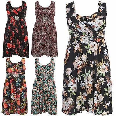 Neu Frauen Plusgröße Sommer Blumen Schnalle Knie Länge Maxi Kleid 36-54 Plus Größe Maxi Kleider