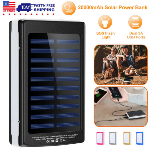 200000mAh Portable External Solar Power Bank 2USB Battery Ch