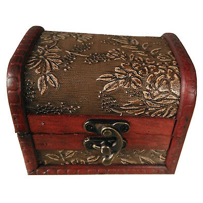 Antique Style Embossed Flower Jewelry Gift Necklace Wood Case Box Bronze Tone DT Embossed Flower Box