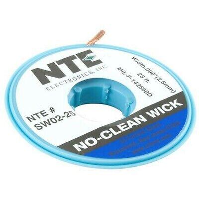 """NTE Electronics SW02-25 No-Clean Solder Wick, 4 Blue.098"""" Width, 25"""