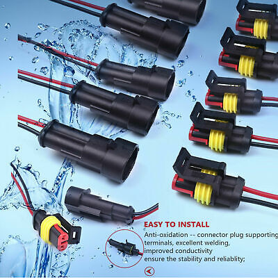 1020 Set 2 4 Pins Car Waterproof Electrical Connector Plug 20 Awg Wire Marine