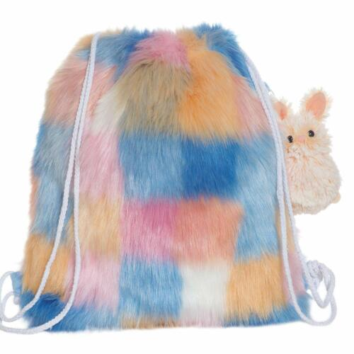 Manhattan Toy Fuzzy Checkered Drawstring Back Pack with Clip-on Bunny