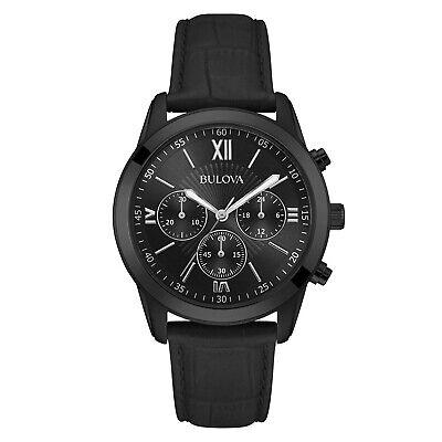 Bulova Men's Quartz Chronograph Black Dial Black Leather 40mm Watch 98A152