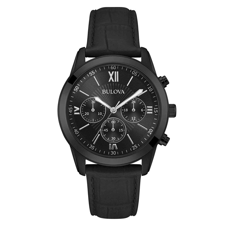 Bulova Men's Chronograph Black Leather Strap Watch 40m 98A15