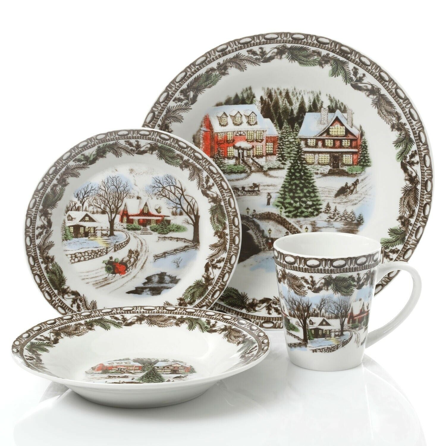 Gibson Home Christmas Holiday Winter Scenery Toile 16 Piece