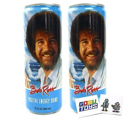 Bob Ross Positive Energy Drink 12 FL OZ (355mL) Can (2 Pack) With 2 GosuToys Sti
