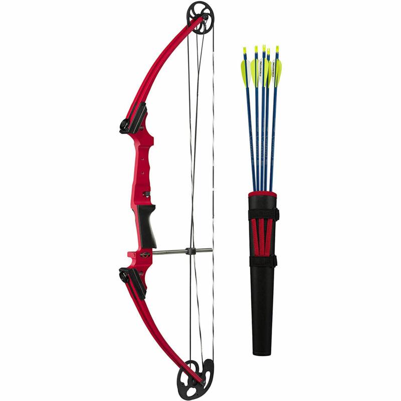 Genesis Archery Original Compound Target Practice Bow Kit Set, Left Handed, Red