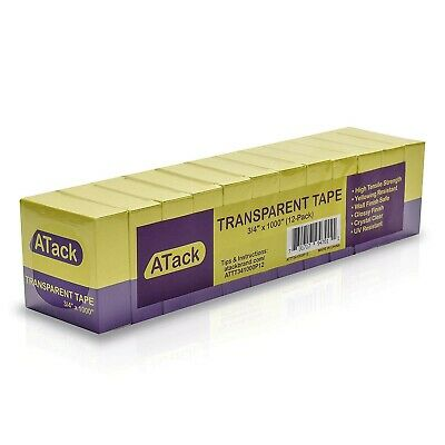 Atack Transparent Tape 34-inch By 1000-inch 12-pack