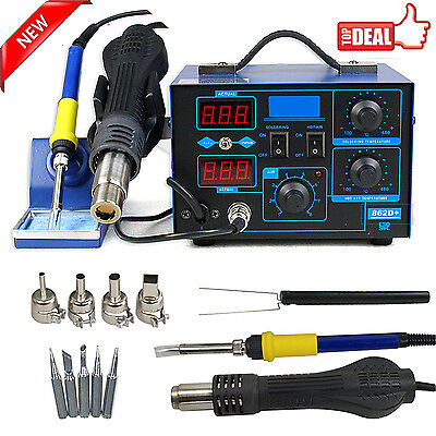 2in1 Soldering Rework Stations Smd Hot Air Iron Desoldering Welder Esd 862d T