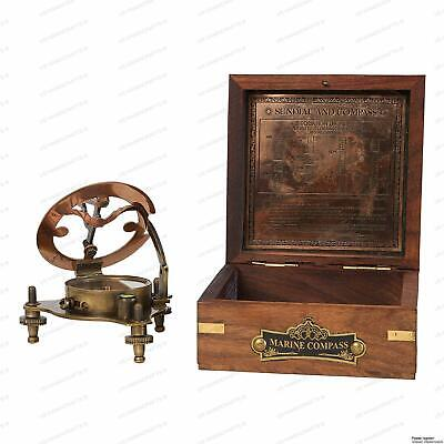 "Antique vintage brass compass 4/"" nautical sundial with wooden box decor gift"