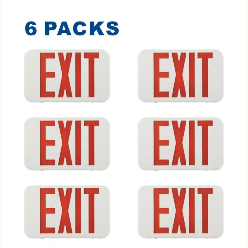Spectsun 6 PACK Red LED Exit Signs Lights with Battery Backup for Home/Office