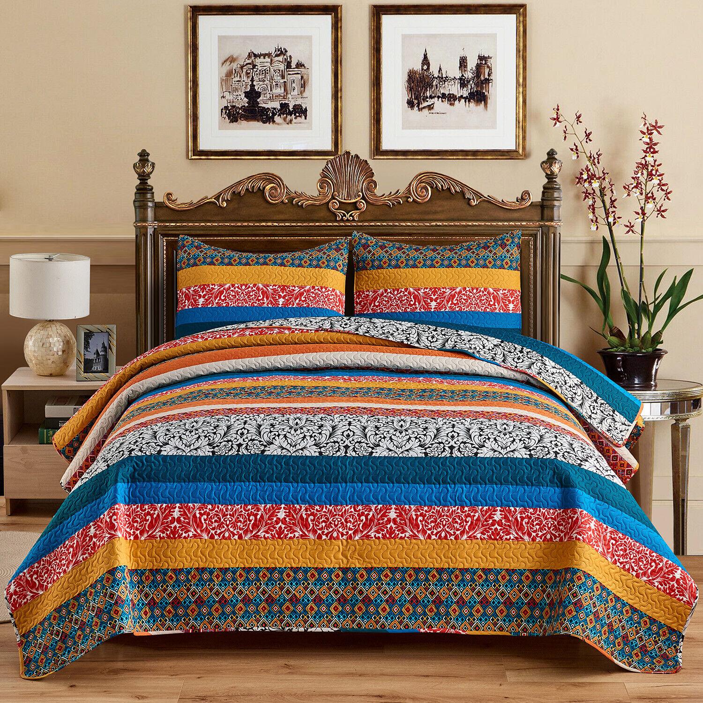 3 piece exotic boho quilt set bedspread