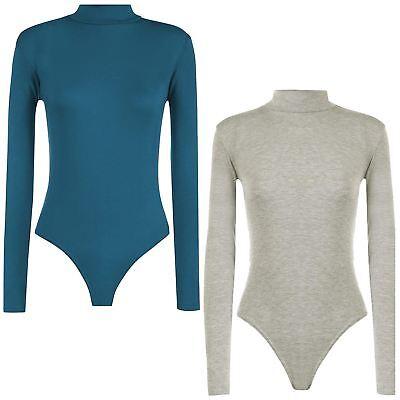 Erwachsene Langarm Rollkragen Body (Damen Ebene Lange Ärmel Polo Schildkröte Hals Stretch Bodysuit Trikot Tops)