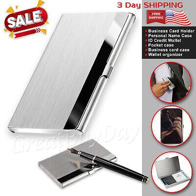 Business Card Holder Wallet Pocket Credit Case Men Women Silver Id Carrier Metal