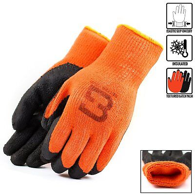 Hi-vis Orange Insulated Winter Rubber-coated Gloves-crinkle Finished -bgwlac-or