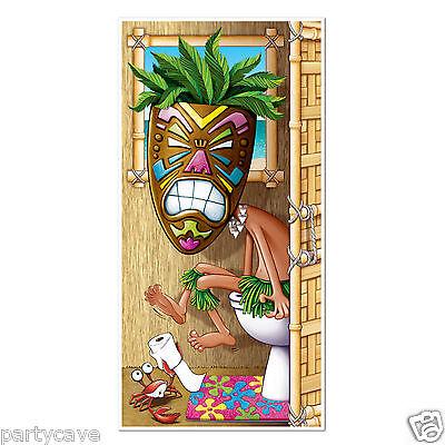 Luau Hawaiian Tropical Party Tiki Man Toilet  Door Banner Wall Scene Decoration