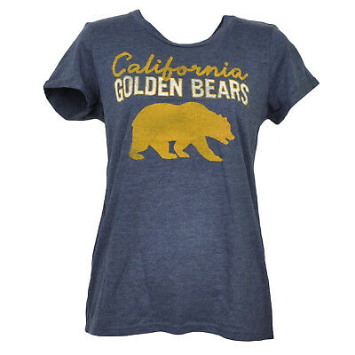 NCAA California Golden Bears Crew Neck Tshirt Tee Womens Distressed Blue Sports