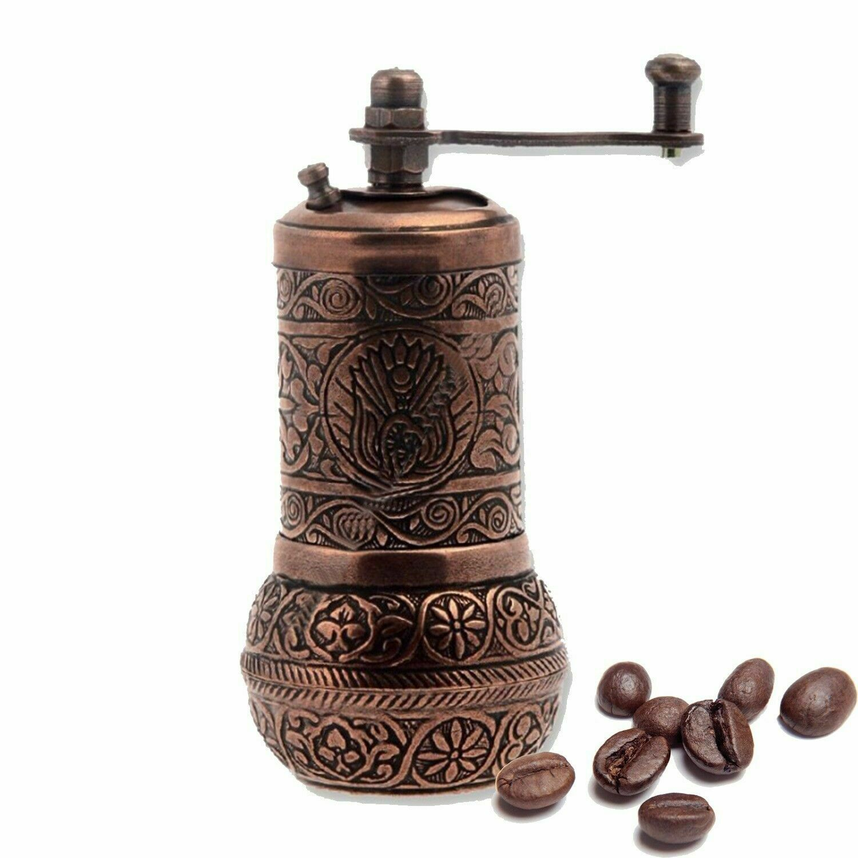 Turkish Handmade Copper Coffee Salt Pepper Spice Grinder Mill Set