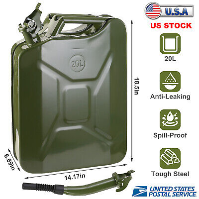 Jerry Can 5 Gallon 20l Gas Gasoline Fuel Army Army Backup Metal Steel Tank Us