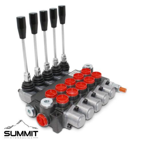5 Spool Hydraulic Monoblock Double Acting Control Valve, 11 GPM, SAE Ports