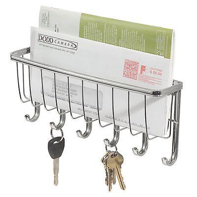 Wall Mounted Chrome Letter & 6 Key Holder Rack Post Organiser Letter Box Mail