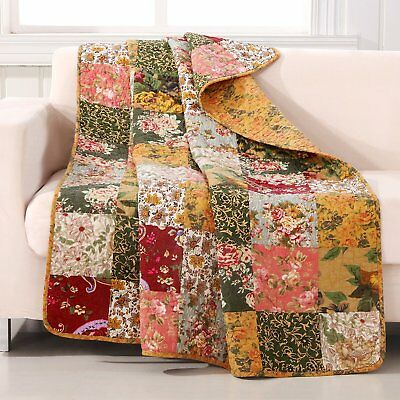 Antique Shabby Chic Vintage Floral Patchwork Design Throw by