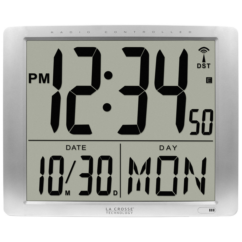 "La Crosse Technology Atomic Digital Wall Clock, Large 16"", 1"