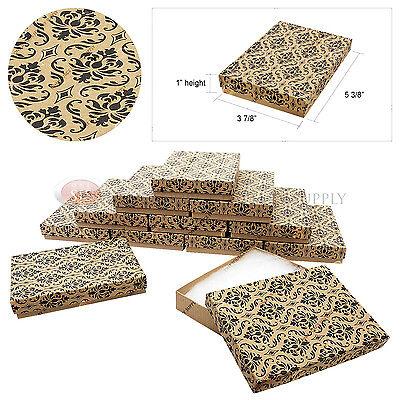 12 Kraft Damask Print Gift Jewelry Cotton Filled Boxes 5 38 X 3 78 X 1