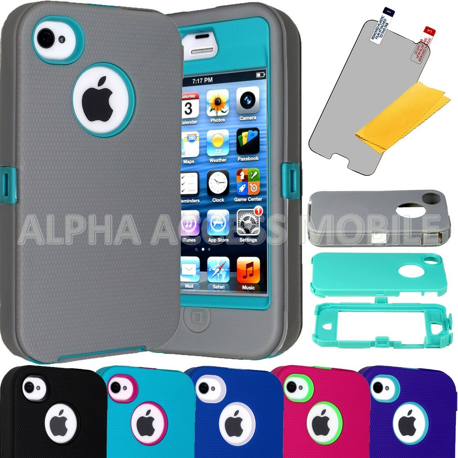 For Apple iPhone 4 4S ShockProof Hard Protective Hybrid Rugged Hard Case Cover