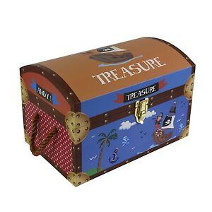Kids Children's Pirate Treasure Chests Cardboard Toy Storage Box Trunk Medium BN