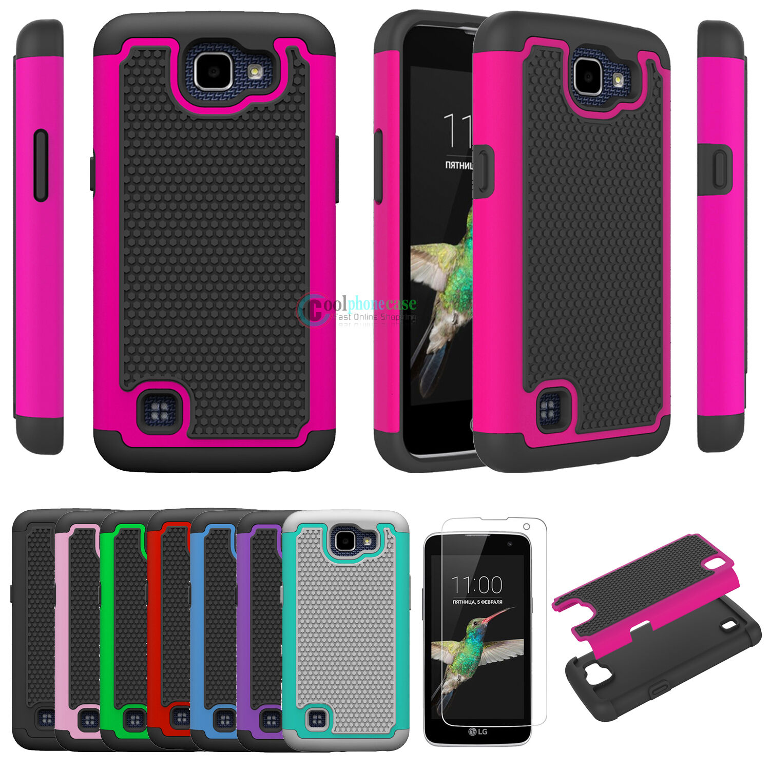 Hybrid Rugged Rubber Grain Matte Armor Case For LG Optimus Zone 3 /LG Rebel LTE