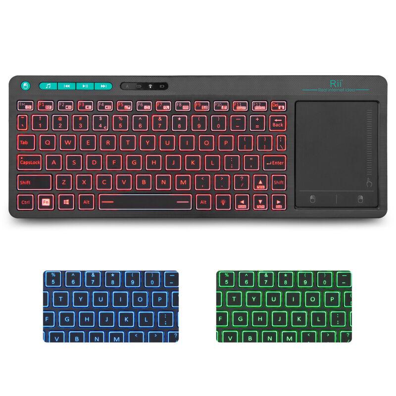 Rii K18 Wireless 3-LED Color Backlit Multimedia Keyboard for PC Raspberry PI TV
