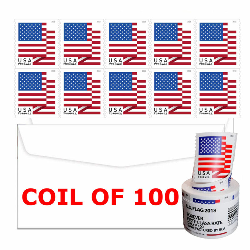 Coil of 100 Free & Fast Shipping USPS 2018 Flag Forever Postage Stamps Sealed