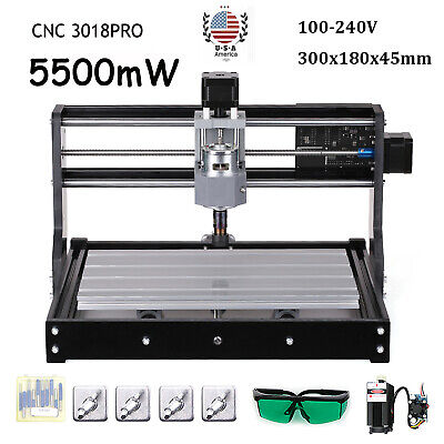 3018pro Diy Cnc Router Laser Engraving Machine Grbl Control 3 Axis 5500mw Er11