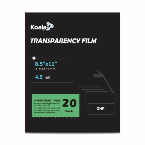 Koala 100% Clear Transparency OHP Film for Overhead Projector Laser Inkjet 20 Sh