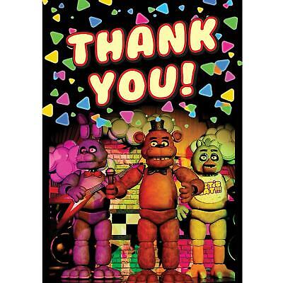 Five Nights at Freddy's Game Halloween Birthday Party Thank You Notes Cards