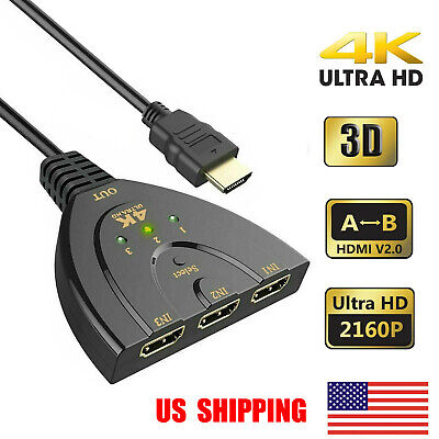 3 Port 4K HDMI 2.0 Cable Auto Splitter Switch HUB Switcher 3x1 Adapter 3D 3 to 1 Hdmi Auto Switch