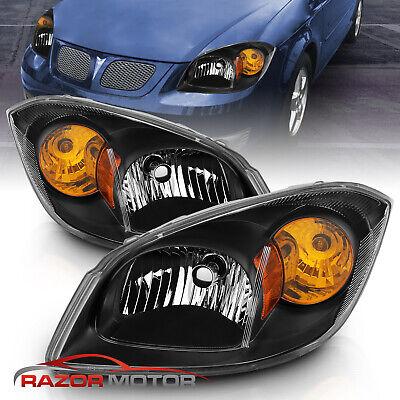 2005-2010 Chevy Cobalt 07-09 Pontiac G5 05-06 Pursuit Euro Black Headlights Pair
