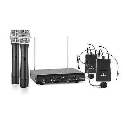 Microfono Wireless Professionale Set 2 Radio Microfoni 4 Canali Copertura 50 m