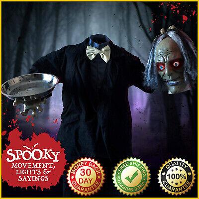 HEADLESS BUTLER Halloween Decoration Animatronic Horror Scary Motion Sound 5.5Ft