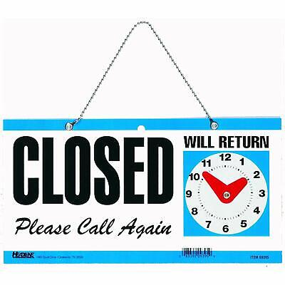 Double Sided Open Closed Will Return Sign With Clock Hands 6 X 11.5