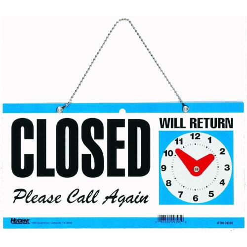 """Double Sided Open / Closed / Will Return SIGN With Clock Hands 6"""" x 11.5"""""""