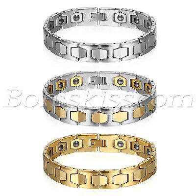 Men's Polished Tungsten Carbide Magnetic Energy Therapy Power Bracelet Golf Link ()