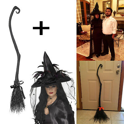 Women's Witch Hat with Feathers Net plus Witch's Broom Halloween Props Costume - Smiffys Halloween Props