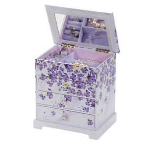 BEAUTIFUL LILAC FLORAL PATTERNED THREE DRAWER JEWELLERY BOX BY MELE & CO 1700