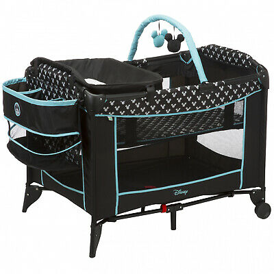 Disney Baby Sweet Wonder Play Yard Mickey Shadow Newborn Bassinet Comforts New